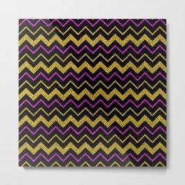 Black gold pink glitter chevron, minimalist, abstract pattern, glam, sparkle Metal Print
