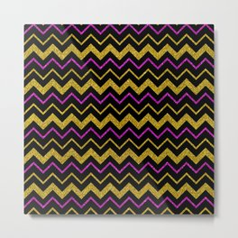 Gold black chevron, purple glitter sparkle Metal Print