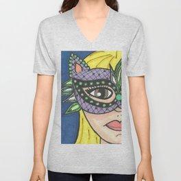 Mask Girl Unisex V-Neck