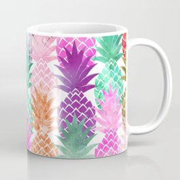 Bright exotic pineapples pastel watercolor pattern Coffee Mug