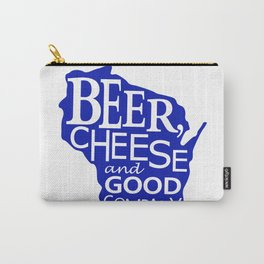 Blue and White Beer, Cheese and Good Company Wisconsin Graphic Carry-All Pouch
