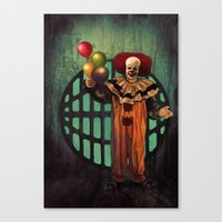 pennywise Canvas Prints featuring Pennywise by Monsterinbox