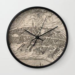 Vintage Map of Rimini Italy (1588) Wall Clock