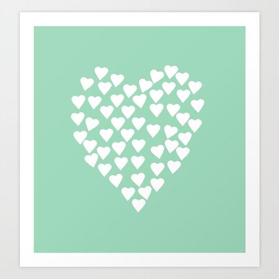 Hearts Heart White on Mint Art Print