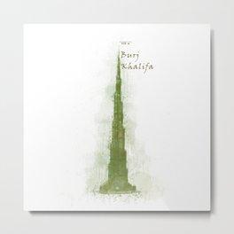 Burj Khalifa, Dubai, Emirates in WaterColor Green Metal Print