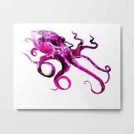 Pink Purple Octopus Metal Print