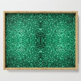 Beautiful Emerald Green glitter sparkles Serving Tray