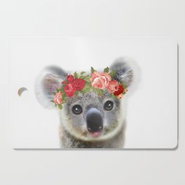 Cute Baby Animal Koala bear with Flower Crown Cutting Board