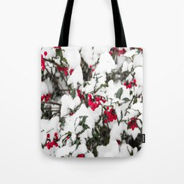 SNOW COVERED HOLLY Tote Bag