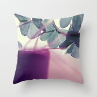 clover Throw Pillows featuring clover by Ingrid Beddoes