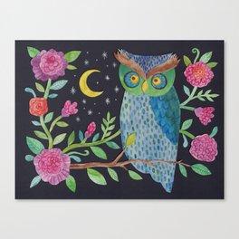 Orlie Owl's Night Garden Canvas Print