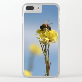 Honey bee on a wildflower Clear iPhone Case