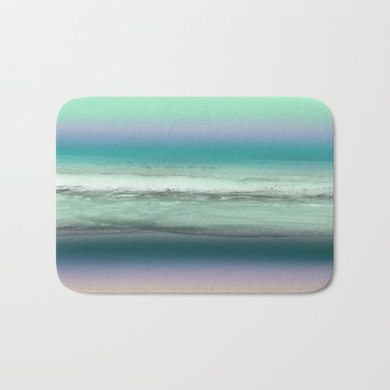 Twilight Sea in Shades of Green and Lavender Bath Mat