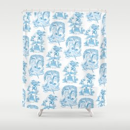 Blue Bawdy Toile Shower Curtain