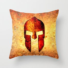 Spartan Helmet On Rust Background - Molon Labe Throw Pillow