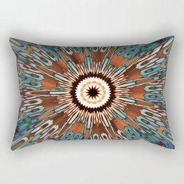 Teal Brown Kaleidoscope Rectangular Pillow