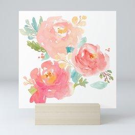 Watercolor Peonies Summer Bouquet Mini Art Print