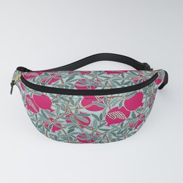 Pomegranates, Fruit, Leaves, Branches in Teals and Fuchsia Fanny Pack