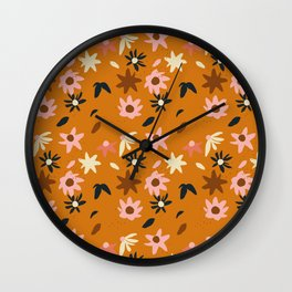 Fall flowers pattern Wall Clock