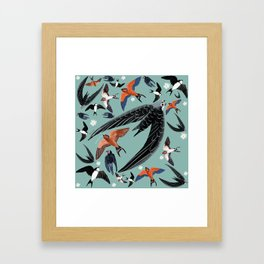 Swallows Martins and Swift pattern Turquoise Framed Art Print