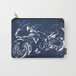 22-2013 HP4 BLUE, Blueprint motorcycle Carry-All Pouch