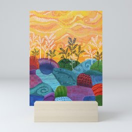 on and on fields Mini Art Print