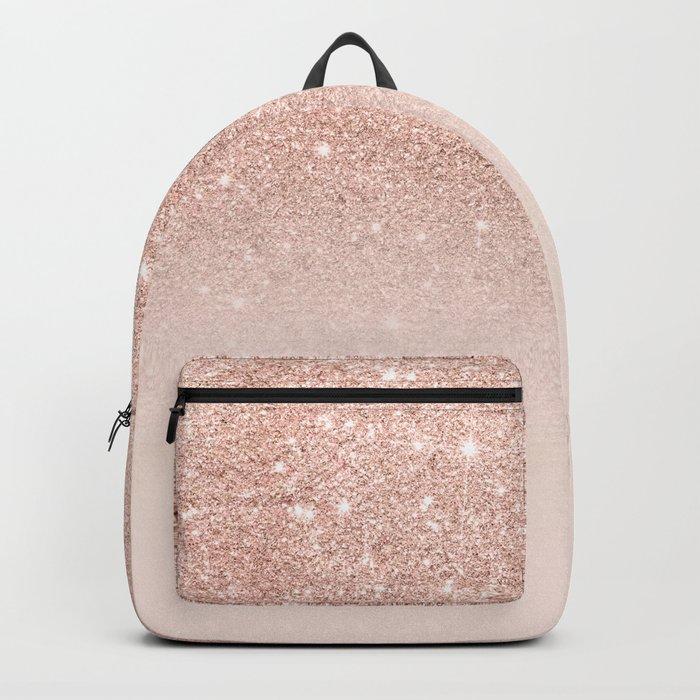 Rose gold faux glitter pink ombre color block Rucksack