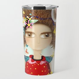 Doll Butterfly Balloons Afro Hair Flowers Travel Mug