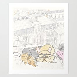French Bulldogs Breakfast with Paris Rooftops View Art Print