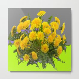 Yellow Dandelions Grey- Chartreuse Colored Art Metal Print