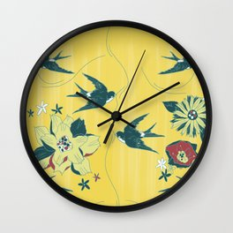 swallows and flowers Wall Clock