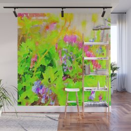 Abstract Spring Flowers Bleeding Hearts and Virginia Bluebells Wall Mural