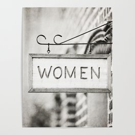Ladies Room, Women's Restroom Sign Art, Black and White Bathroom Photo Poster