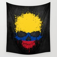 colombia Wall Tapestries featuring Flag of Colombia on a Chaotic Splatter Skull by Jeff Bartels