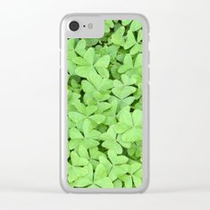 Green Clovers Clear iPhone Case