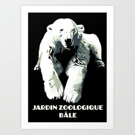 Vintage vector Zoo ad Basel polar bear Art Print
