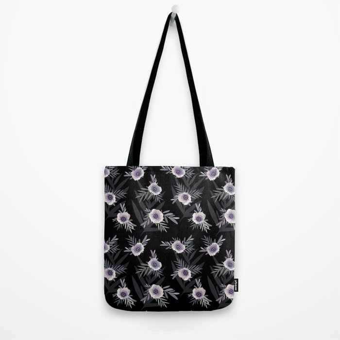 Floral pattern with anemone flowers, romantic print black background Tote Bag