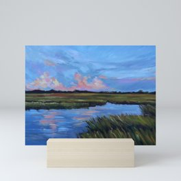 Oil painting by Katie Wall Art called Southern Sunset Over the Salt Marsh Mini Art Print