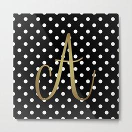"Retro Black and White Polka Dot with ""A"" Monogram Metal Print"