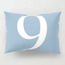 number nine sign on placid blue color background Pillow Sham