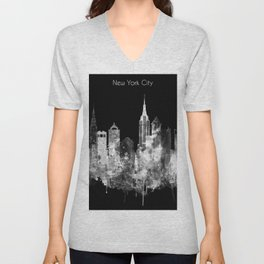 New York City Inverted Watercolor Skyline Unisex V-Neck