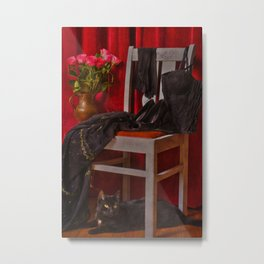 When will she come back? I am waiting .... a cat Metal Print