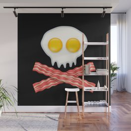 Skull With Crossed Bacon  Skull Bacon Eggs Wall Mural