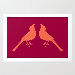 facing cardinals (color) Art Print