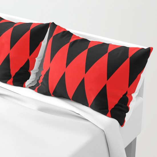 LARGE RED AND BLACK  HARLEQUIN DIAMOND PATTERN by cradoxcreative