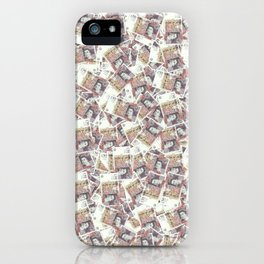 Giant money background 50 pound notes / 3D render of thousands of 50 pound notes iPhone Case