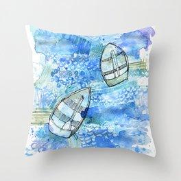 Bobbing boats Throw Pillow