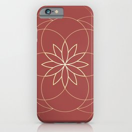 Minimalist Sacred Geometric Golden Flower in Terracotta Color, Sacred Geometry Luxury Symbol iPhone Case