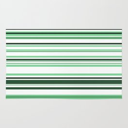 White & green Linies Rug
