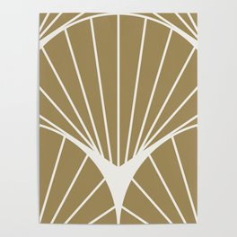Diamond Series Round Sun Burst White on Gold Poster